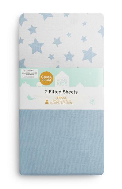 Lençóis ajustáveis estampado estrelas criança azul