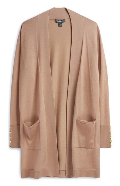 Light Brown Loose Cardigan With Pockets