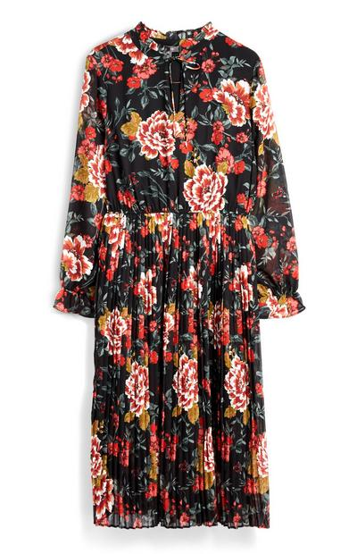 Robe mi-longue plissée à fleurs