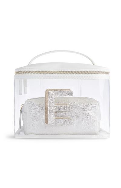 Letter E Clear Makeup Bag