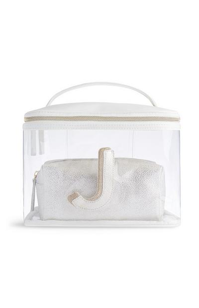 Letter J Clear Makeup Bag