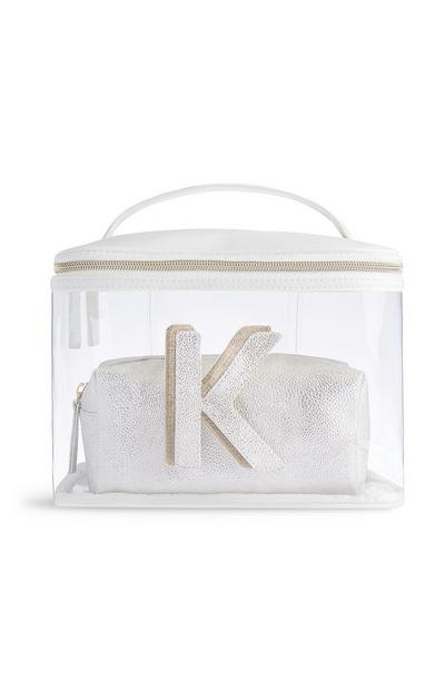Transparante make-uptas met letter K