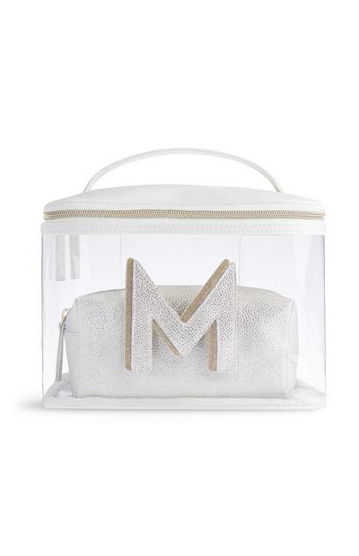 Letter M Clear Makeup Bag