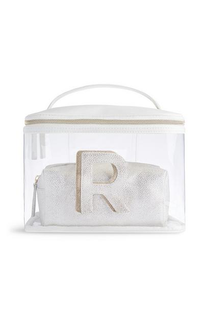 Letter R Clear Make-Up Bag