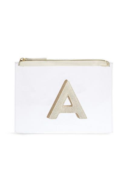 Neceser de maquillaje transparente con la letra «A»