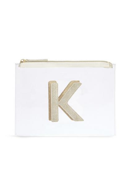 "Transparente Make-up-Tasche mit Initiale ""K"""