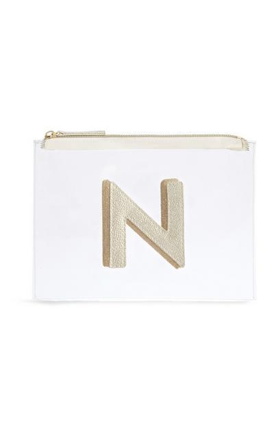 Transparante make-uptas met letter N