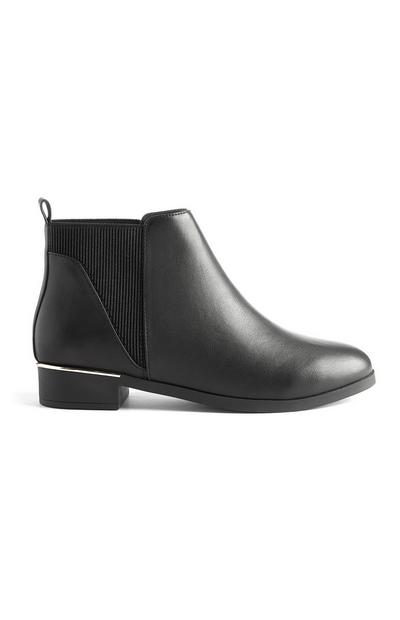 Black Chelsea Boots With Metal Details