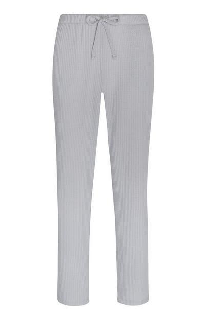Calças padrão losangos cinzento-claro