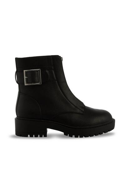 Black Vegan Faux Leather Chunky Chelsea Boot