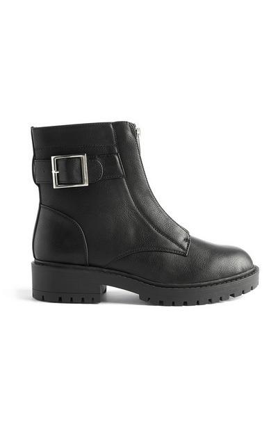 Stivali neri vegan in pelle sintetica con fibbia e zip sul davanti