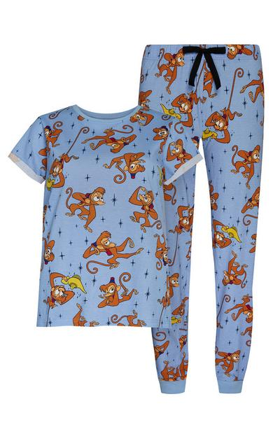 Blue Aladdin's Abu Print Pajama T-Shirt And Joggers