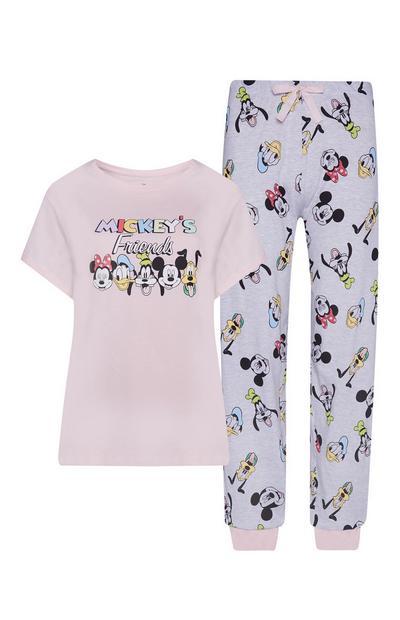 Camisola/calças pijama Mickey's Friends cor-de-rosa claro