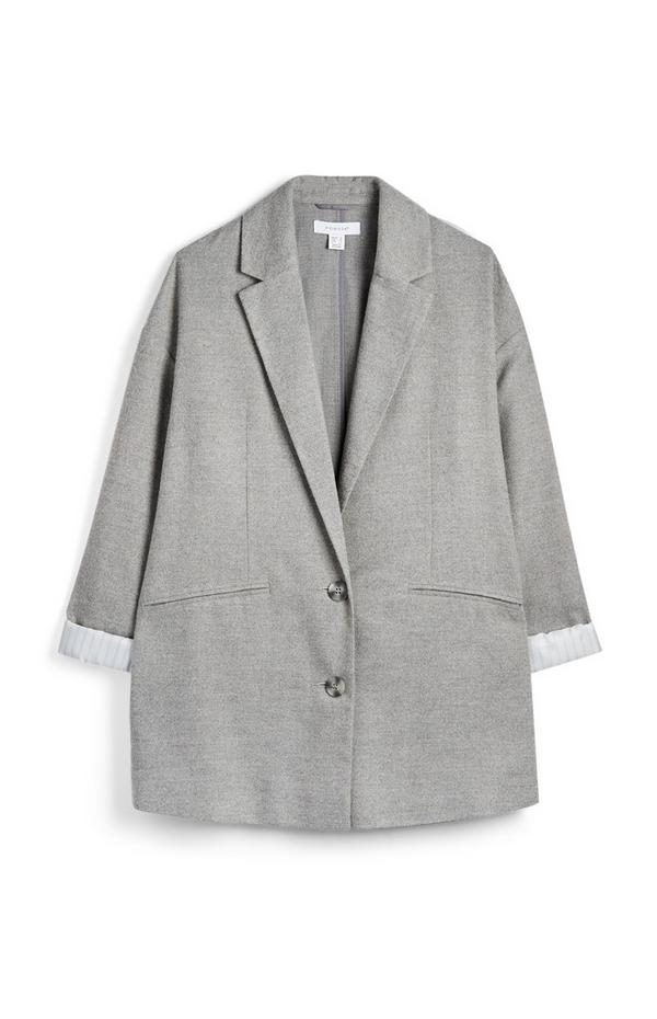 Blazer grigio chiaro a maniche lunghe