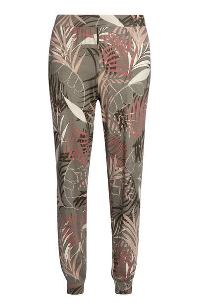Kaki pyjamabroek met palmbomenprint