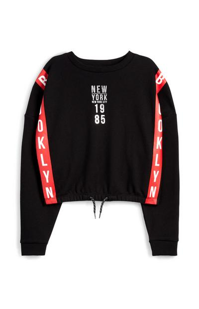 Older Boy Black New York Cropped Sweatshirt