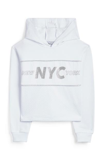 Older Girl White NYC Crop Mesh Jumper