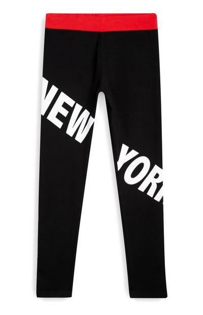 "Schwarze ""New York"" Leggings (Teeny Girls)"