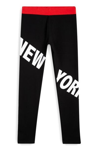Older Girl Black New York Leggings