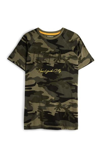 Older Boy Camo Slogan Tshirt