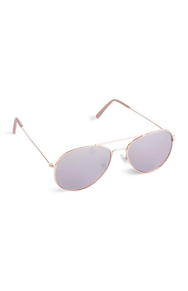 Younger Girl Pink Aviator Sunglasses