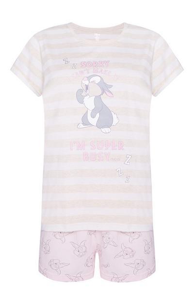 Short et haut de pyjama Panpan rose poudré