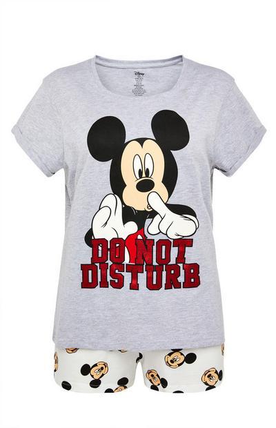 Gray Disney Mickey Mouse Short Pajamas