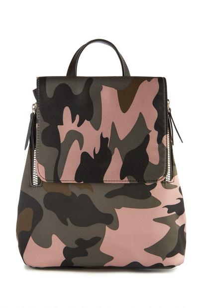 Pink Camouflage Print Backpack