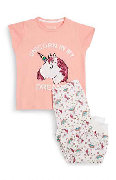 Pijama de 2 piezas rosa con unicornios