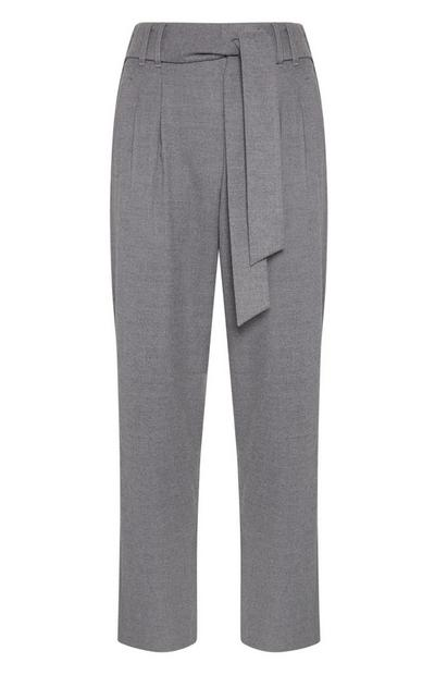 Light Gray Tailored Belted Pants
