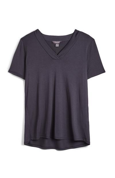 T-shirt decote V preto