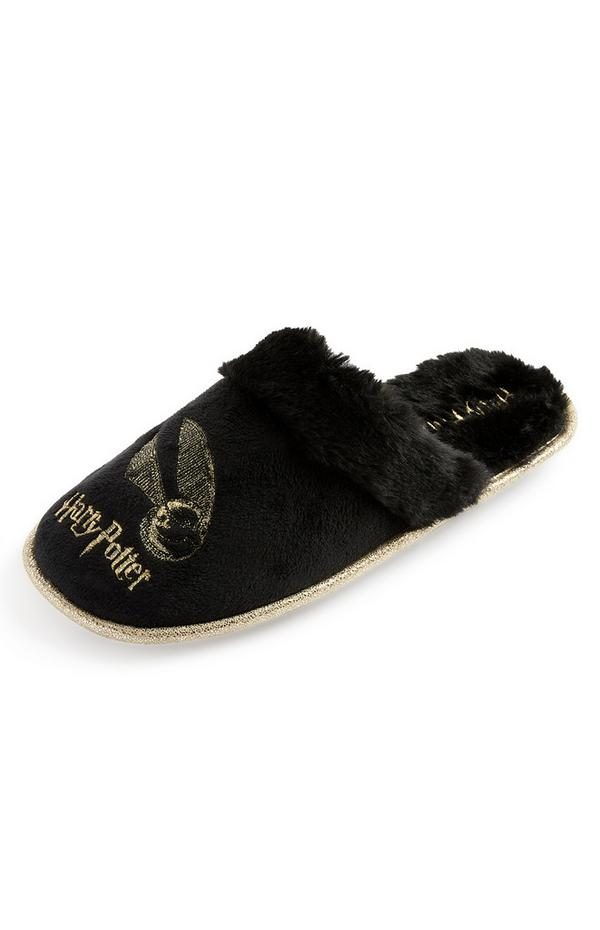 Zwarte slippers Gouden Snaai Harry Potter met imitatiebont