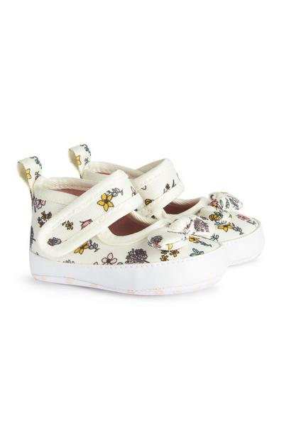Baby Girl White Floral Print Velcro Shoes