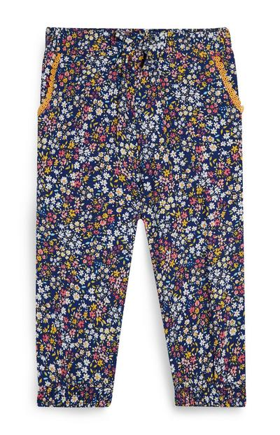Baby Girl Navy Floral Viscose Trousers