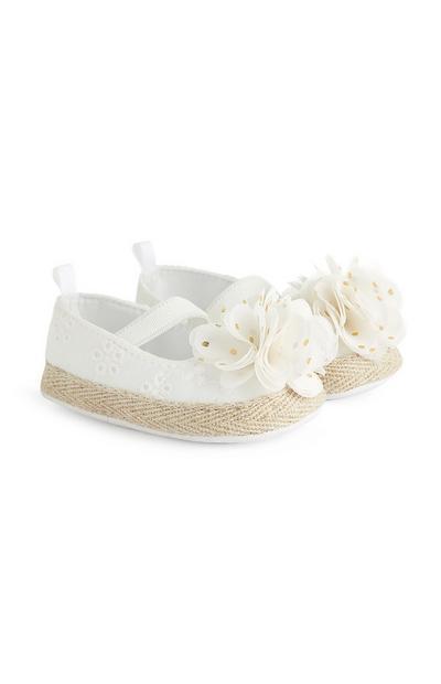 Baby Girl White Broiderie Espadrille