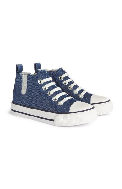 Younger Girl Navy Sparkle Trainers
