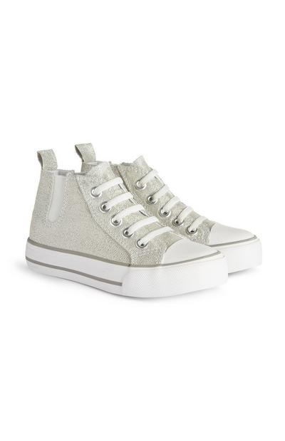 Younger Girl Silver Sparkle Trainers