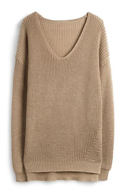 Taupefarbener Pullover aus recyceltem Stoff mit V-Ausschnitt