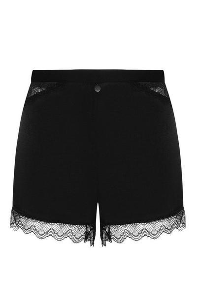 Black Satin Lace Trim Shorts