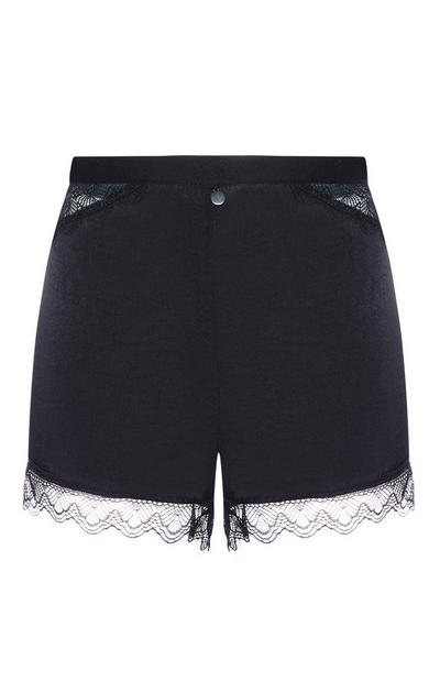Black Satin Lace Trim Shorts