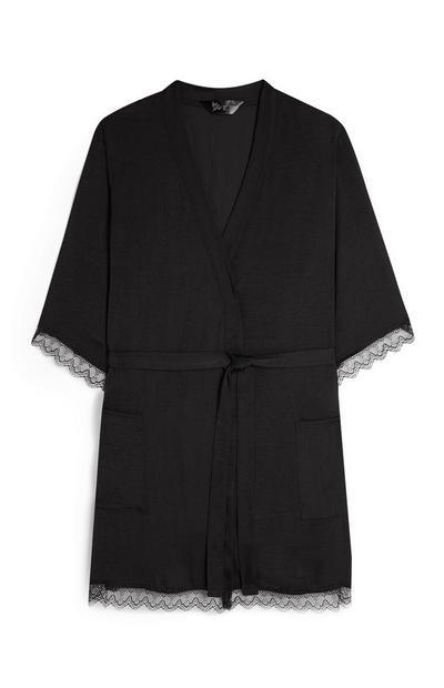 Black Satin Belted Robe
