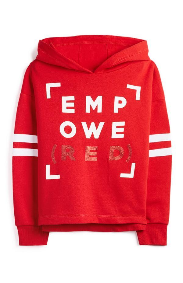 Rdeč pulover s kapuco in napisom EMPOWERED za dekleta