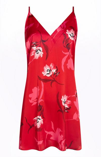 Red Floral Satin Chemise