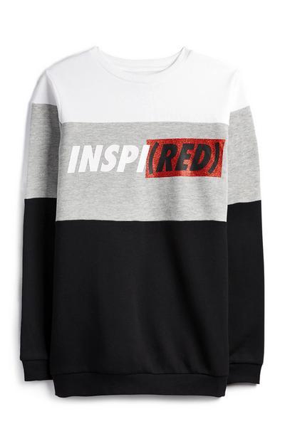 Pull gris à col ras-du-cou et motif color-block Inspired Red
