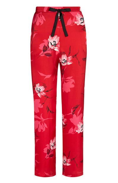 Calças cetim padrão floral vermelho