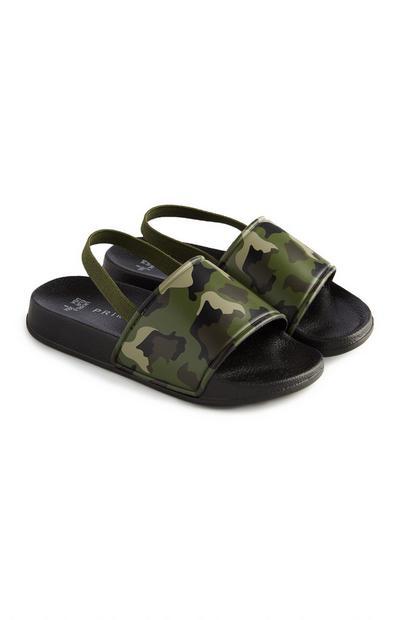 Younger Boy Khaki Camouflage Sliders