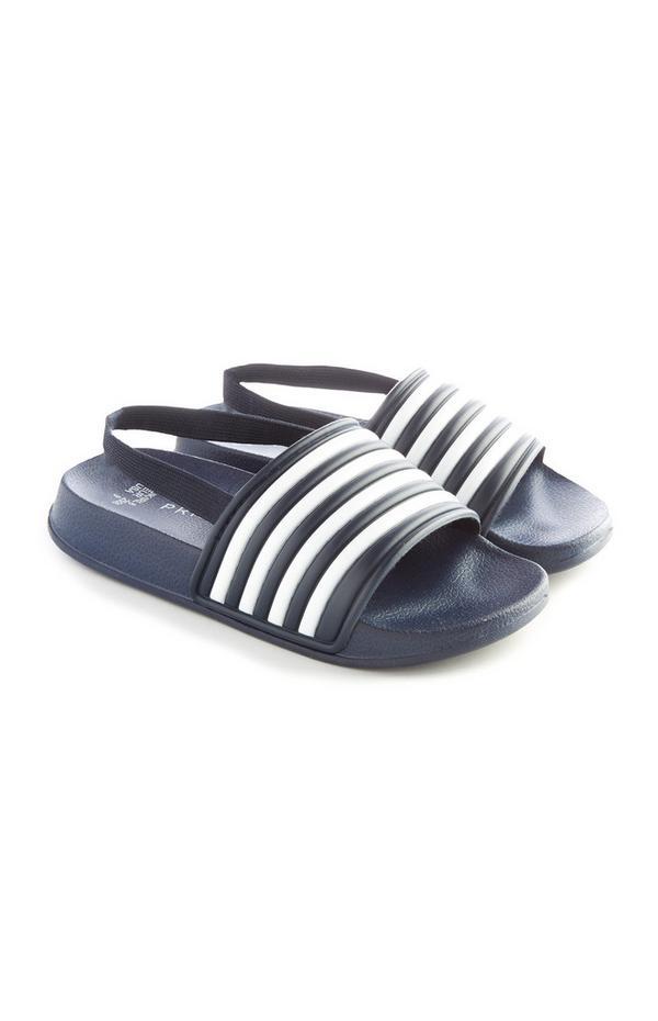 Younger Boy Navy Stripe Slides