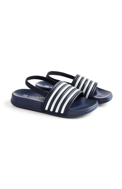 Younger Boy Navy Stripe Sliders