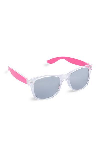 Occhiali da sole rosa e bianchi da ragazza