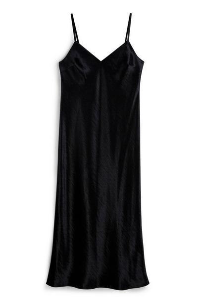 Black Satin Midi Dress